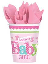Welcome Baby Girl Paper Cups 8pk
