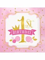 Pink & Gold 1st Birthday Luncheon Napkins 16pk