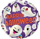"Happy Halloween Emoticon Ghosts 18"" Foil Balloon"