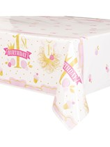 Pink & Gold 1st Birthday Plastic Tablecover