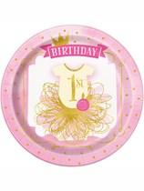 "Pink & Gold 1st Birthday 9"" Paper Plates 8pk"