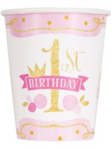Pink & Gold 1st Birthday Paper Cups 8pk