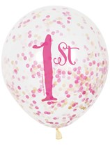 Pink & Gold 1st Birthday Latex Confetti Balloons 6pk