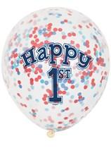 Nautical Happy 1st Birthday Latex Confetti Balloons 6pk