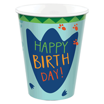 Dinosaur Happy Birthday 250ml Paper Cups 8pk