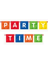 Building Blocks Party Time Flag Banner