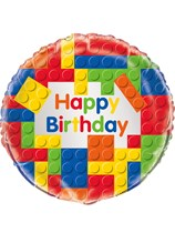 "Building Blocks Happy Birthday 18"" Foil Balloon"