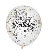 Glittering Happy Birthday Confetti Latex Balloons 6pk