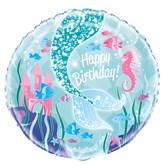 "Mermaid Party 18"" Happy Birthday Foil Balloon"