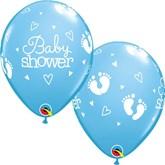 Pale Blue Baby Shower Footprints Latex Balloons 25pk