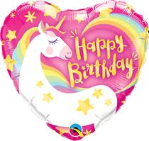 """Magical Birthday Unicorn 9"""" Air Fill Foil Balloon"""