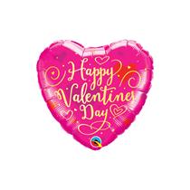 "Valentine 9"" Gold Script Heart Foil Balloon"
