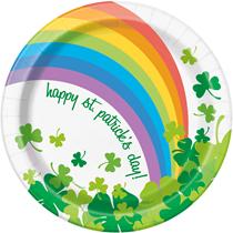 "Rainbow Shamrock St Patrick's 7"" Plates 8pk"