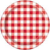 """Red Gingham 9"""" Paper Plates 8pk"""
