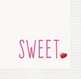 Red Sweet Foil Stamped Beverage Napkins 16pk