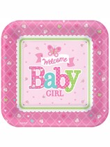 Welcome Baby Girl Square Paper Plates 8pk