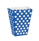 Popcorn Treat Boxes Decorative Dots Navy Blue 8pk