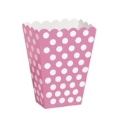 Popcorn Treat Boxes Decorative Dots Hot Pink 8pk