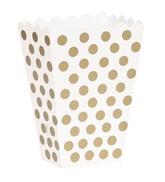 Gold Polka Dots Treat Boxes 8pk