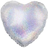 """Silver Holographic Heart 18"""" Foil Balloon"""