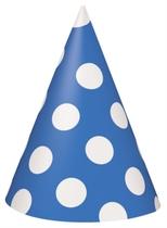 8 Decorative Dots Navy Blue Party Hats