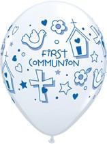 "First Communion Blue Symbols 11"" Latex Balloons 25pk"