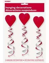 Valentine's Heart Hanging Swirl Decorations 3pk