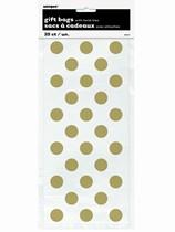 Gold Polka Dots Cello Bags 20pk