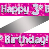 3rd Birthday Pink Holographic Banner
