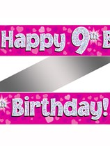 9th Birthday Pink Holographic Banner