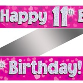 11th Birthday Pink Holographic Banner