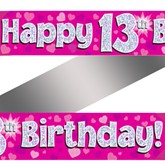 13th Birthday Pink Holographic Banner