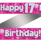 17th Birthday Pink Holographic Banner