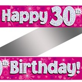 30th Birthday Pink Holographic Banner