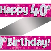 40th Birthday Pink Holographic Banner