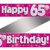 65th Birthday Pink Holographic Banner