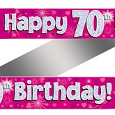 70th Birthday Pink Holographic Banner