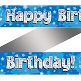 Blue Happy Birthday Holographic Banner