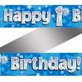 1st Birthday Blue Holographic Banner