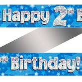 2nd Birthday Blue Holographic Banner