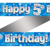 5th Birthday Blue Holographic Banner