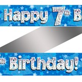 7th Birthday Blue Holographic Banner