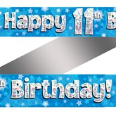 11th Birthday Blue Holographic Banner