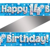 14th Birthday Blue Holographic Banner