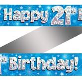 21st Birthday Blue Holographic Banner