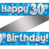 30th Birthday Blue Holographic Banner