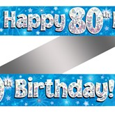 80th Birthday Blue Holographic Banner