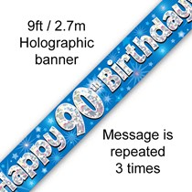 90th Birthday Blue Holographic Party Banner