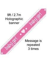 Baby Girl Pastel Pink Foil Holo Banner 9ft