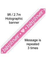Baby Shower Pink Foil Holo Banner 9ft